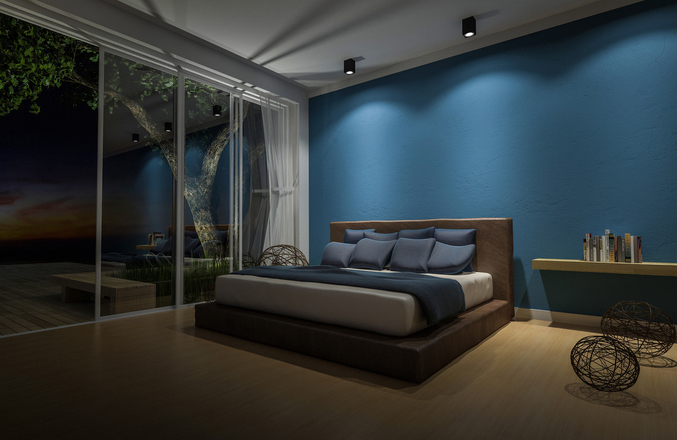 3d rendering image of bed room in the seaside house which have big tree on wooden terrace , infinity swimming pool, leaves shadow on floor,night view,sunset time (3d rendering image of bed room in the seaside house which have big tree on wooden terrac